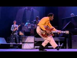 "Chuck Berry doing the ""duck-walk,"" from the movie Hail! Hail! Rock 'n Roll."