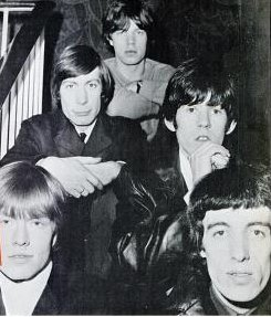 The Rolling Stones in 1965.  Clockwise from top: Mick Jagger; Keith Richards; Bill Wyman; Brian Jones; Charlie Watts.