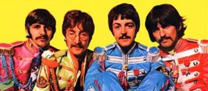 """The Beatles, in the gatefold to the """"Sgt. Pepper"""" album, June 1967."""