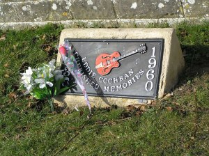 """Eddy Cochran Memorial - geograph.org.uk - 1751937"" by Rick Crowley. Licensed under CC BY-SA 2.0 via Wikimedia Commons - http://commons.wikimEddie Cochran Memorial, Chippenham geograph.org.uk_-_1751937.jpg#/media/File:Eddy_Cochran_Memorial_-"