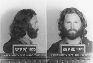 Jim Morrison mug shot 1970, Dade County Public Safety Dept.