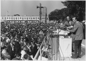Peter, Paul & Mary performing at the Civil Rights March on Washington, D.C., August 1963, U.S. National Archives and Records Administration.