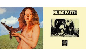 L: controversial Blind Faith album cover; R: photo of the band offered as a substitute cover.