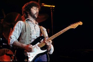 Eric Clapton playing his favorite Fender Stratocaster guitar, 'Blackie.'