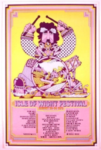 The poster for the 1970 Isle of Wight Festival, with a list of the performers