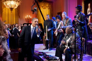 President Obama joins in singing Sweet Home Chicago at a White House blues concert