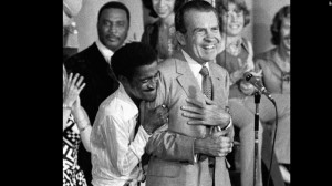 Sammy Davis Jr hugs Richard Nixon at a campaign rally in Miami in 1972.