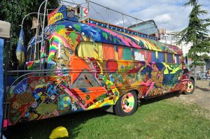 "The psychedelic painted bus ""Furthur,"" used by Ken Kesey's Merry Pranksters."
