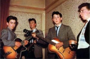 The Quarrymen in 1957, from L: George Harrison, John Lennon, Paul McCartney