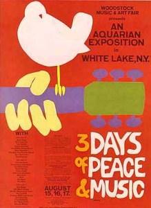 Advertising poster, designed by Arnold Skolnick, for the 1969 Woodstock Festival