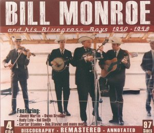 Bill Monroe and the Bluegrass Boys; Monroe is 2nd from right playing the mandolin.