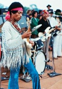 Jimi Hendrix at Woodstock, Aug. 1969.